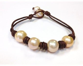 SALE - Freshwater Pearl and Leather Bracelet - SaiJai