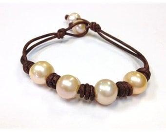 SALE - Freshwater Pearl and Leather Bracelet - SaiJai