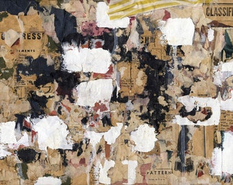 Classified - original mixed media collage on plywood