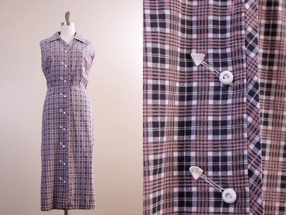 1950s plaid dress / 50s house dress / western arrowhead dress // plus size XL