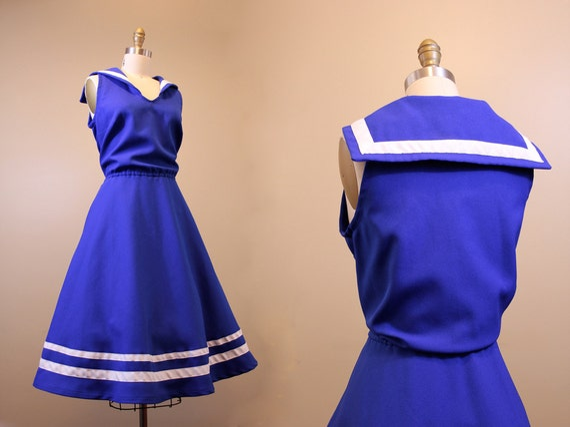 vintage sailor dress // nautical blue 1960s dress // XL // full skirt dress plus size