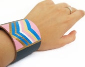 PINK, blue, white and golden TRIBAL CHEVRON-- 2 inch Blue Leather Bracelet / Cuff