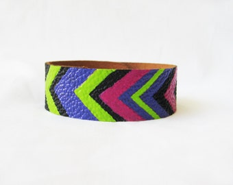 NEON TRIBAL CHEVRON green pink and purple-- 2 cm  or 6/8 inch Black Leather Bracelet / Cuff