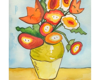 Fireflowers, print of original watercolor illustration various sizes