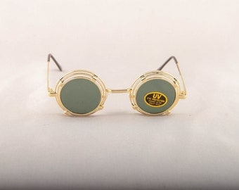 Vintage 80s 90s Steam Punk Gold Small Multiple Circle Sunglasses
