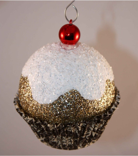 Gold Damask Cupcake Christmas Ornaments Cherry & Glitter