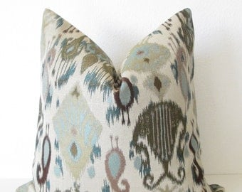 Lyssa Ikat Aegean Pillow Cover - Ikat Pillow Cover - Ikat Throw Pillow