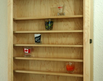 48 Maple Shot Glass Display Case Cabinet