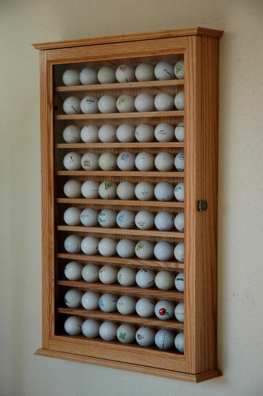 Golf Ball Display Case Wall Cabinet Rack-Oak by fwdisplay ...