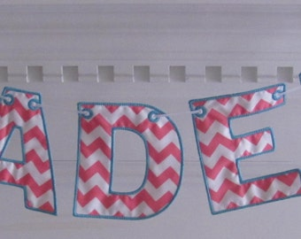 Fabric Name Banner in Pink and White Chevron with Aqua Thread for Shower Gift or Room Decoration