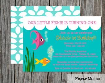 Fish Birthday Invitations Aquarium Under-the-Sea Party