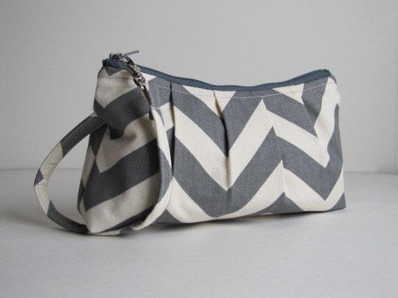 Pleated Wristlet Zipper Pouch, Bridesmaid Gift, Wristlet Clutch, Gift For Her, Bridesmaid Wristlet  - Grey Chevron