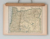 Antique 1940s Topographic State Map of Oregon and Pennsylvania