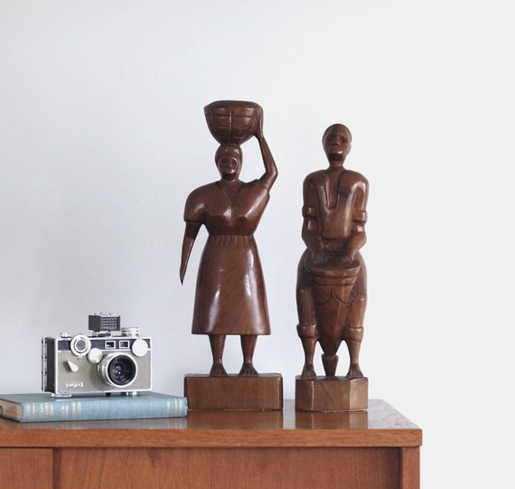 Mid Century Carved Wood Sculptures | African Carvings | Woman with Basket, Man with Drum | 20% OFF SALE