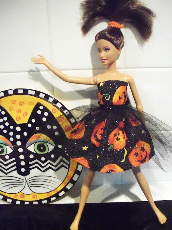 barbie doll dress Halloween sparkle Pumpkins tulle