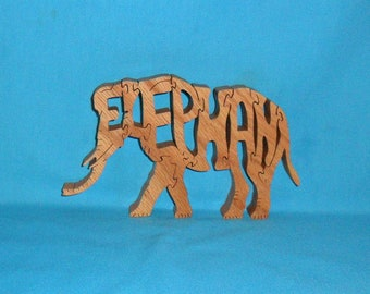 Elephant Handmade Scroll Saw Wooden Puzzle
