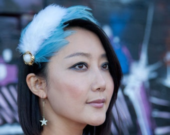 Blue Feather Headband with Pearl Gold Embellishment