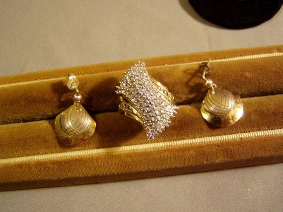 Vintage Sterling Silver Vermeil Gold Washed Ladies Diamond Ring & Banner Sterling Pierced Earrings 3423