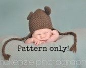 PDF Pattern for Crochet Baby Bear Beanie or Earflap Hat with Permission to Sell What You Make