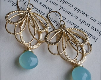 Gold Chandelier Earrings with Aqua Blue Chalcedony-Christmas Gift-Bridesmaid-Summer Fashion