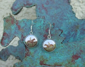 Equestrian Horse in the Field with the Rider Enamel Earrings Sterling Silver,Equestrian Jewelry,Horse Earrings