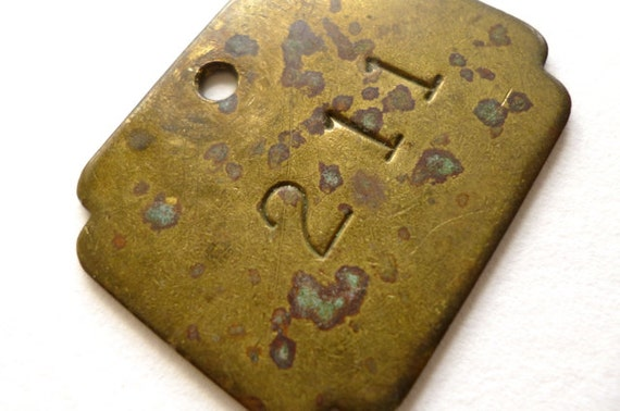 Vintage Brass Tag Metal Fob