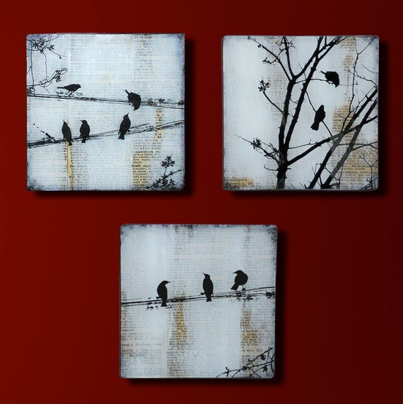 Black Bird Set of Three Handmade Glass and Wood Wall Blox from Upcycled Dictionary page book art - WilD WorDz - Carriers of the WordSet of 3