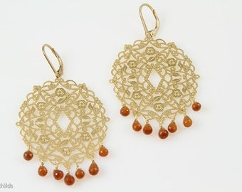 Large Gold Filigree and Carnelian Earrings, AC0852 by ashley childs
