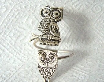 Silver owls ring, adjustable ring, animal ring, silver ring, statement ring