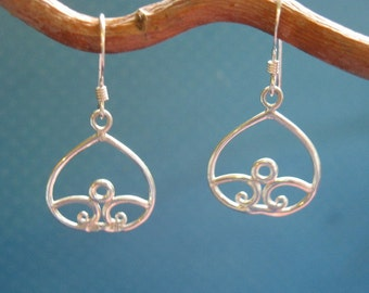Sterling Silver Lotus Drop Dangle earrings ..hand made...free ship and gift box