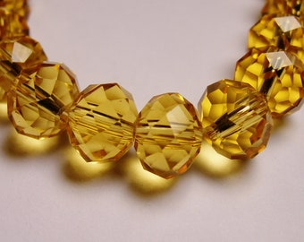 Crystal faceted rondelle -  25 pcs - 10mm by 7mm - AA quality - yellow topaz