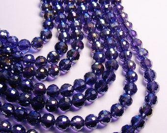 Crystal - round faceted 10mm beads - 72 beads - AA quality - Sparkle metallic purple  - 26 inch strand