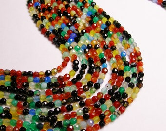 Agate multicolor - 4 mm faceted round beads -1 full strand - 94 beads - A quality