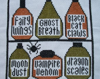 PDF E pattern emailed Primitive Halloween Sampler Cross Stitch Pattern 116