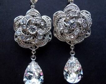 Bridal Stud Earrings Chandelier Rhinestone Statement crystal Bridal Earrings Rhinestone Stud Earrings Wedding Rhinestone Earrings ROSELANI