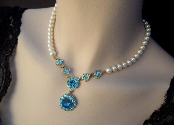 Bridal Necklace,Something Blue Necklace,Ivory or White Pearls,Gold Bridal Necklace,Bridal Rhinestone Necklace,Bridal Pearl Necklace, LILY