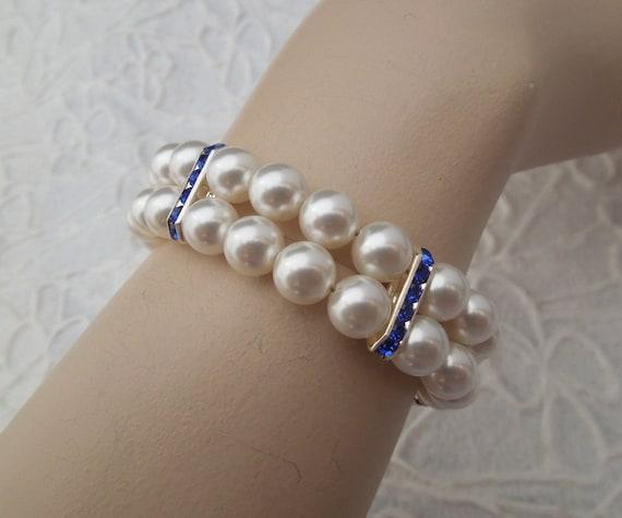Bridal Bracelet Something Blue Bracelet Pearl Bridal Bracelet Ivory Swarovski pearls vintage style Blue Rhinestones Bracelet FRANCESCA