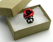 Red Rose Ring Adjustable Victorian Filigree in Antiqued Brass with Gift Box