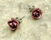 Pink Rose Stud Earrings in Gift Box