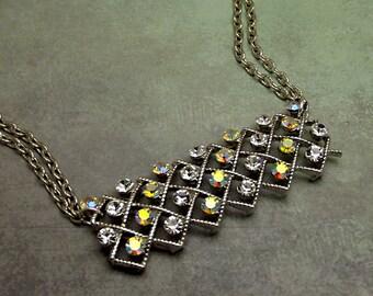 Aurora Borealis Rhinestone Bar Necklace, Silver Plated, Thick Bar Style Rectangle Pendant