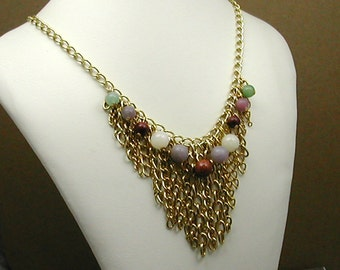 Chain Fringe Gemstone Necklace Gold