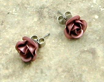 Pink Rose Stud Earrings in Gift Box