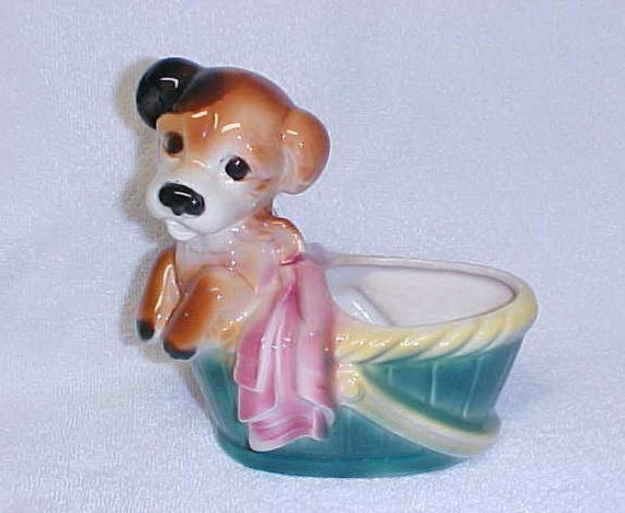 Vintage Pup Dog With Basket Ceramic  Planter Figurine Royal Copley Pottery 1940's
