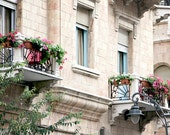Balconies, balconies with flowers, Jerusalem photography