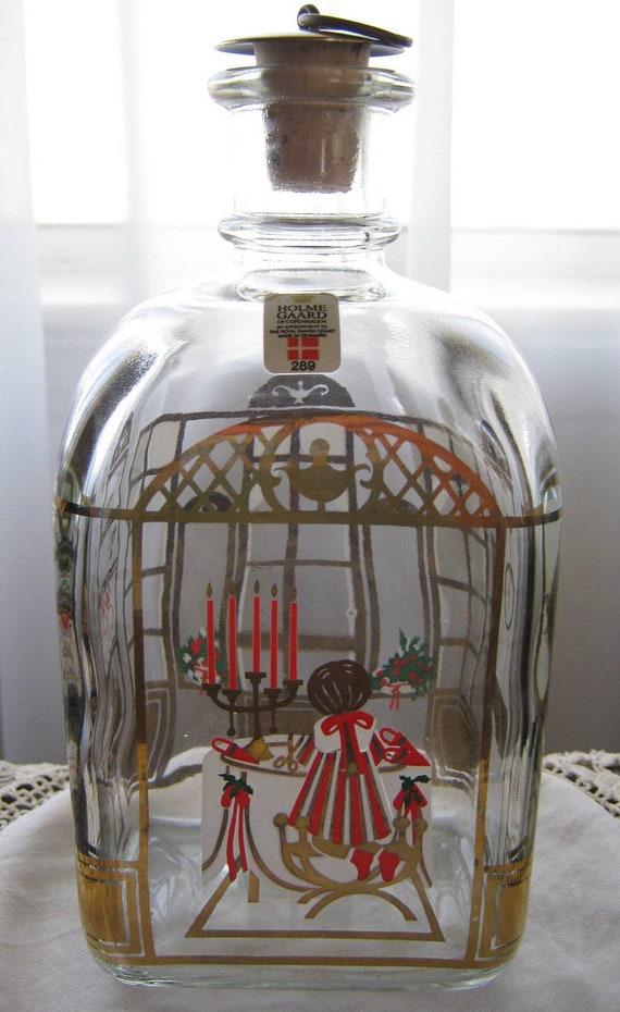Vintage Rare Pattern HolmeGaard Corked Christmas Bottle Decanter from Copenhagen Denmark