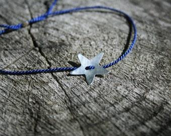 Blue Silk thread bracelet with Sterling Silver Star - adjustable