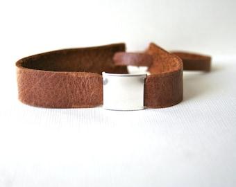 Sterling Silver belt Buckle and Leather Bracelet