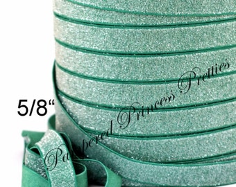 5yd-Glitter Elastic-Frosted-Green-5/8""