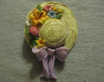 Vintage Garden Bonnet with Flowers Brooch