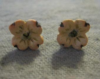 CLEARANCE SALE: Handpainted Dogwood Flower Earrings